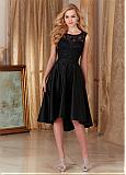 Chic Tulle & Satin Scoop Neckline A-Line Hi-Lo Bridesmaid Dresses With Embroidery & Beads