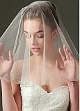 In Stock Chic Tulle Wedding Veil With Beading