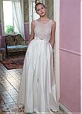 Fashionable Lace & Taffeta Scoop Neckline Two-piece A-Line Wedding Dresses With Beadings & Sequins