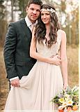 Gorgeous Lace & Orgaza V-Neck A-Line Wedding Dresses With Beadings