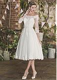 Fascinating Tulle Off-the-shoulder Neckline Tea-length A-line Wedding Dress With Belt & Beaded Lace Appliques