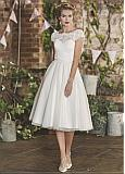 Attractive Tulle Jewel Neckline Tea-length A-line Wedding Dress With Lace Appliques & Beadings & Belt