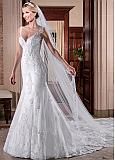 Attractive Tulle V-neck Neckline Mermaid Wedding Dresses With Beaded Lace Applqiques