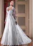 Fascinating Tulle Queen Anne Neckline A-line Wedding Dresses With Beadings & Lace Applqiques & Belt